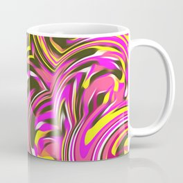 psychedelic spiral painting abstract pattern in pink and yellow Coffee Mug