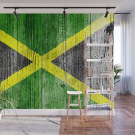 Jamaica Flag Grungy Distressed Board Wall Mural