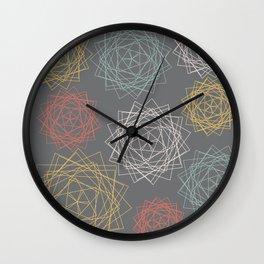 Dark Pastel Origami Blooms Wall Clock
