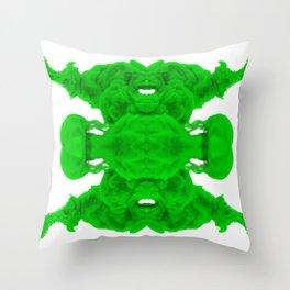 Green Ink Drop in Water Throw Pillow