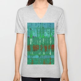 Abstract Forest Trees in Teal and Green Unisex V-Neck
