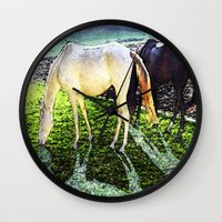 horses Wall Clocks featuring horses by  Agostino Lo Coco