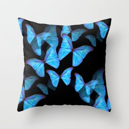 Turquoise Blue Tropical Butterflies Black Background #decor #society6 #buyart Throw Pillow