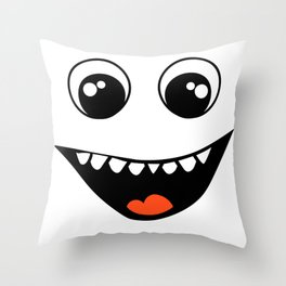 Smiley Face SVG, Happy Face, Smiley, Clip art, Silhouette, Stencil Template, DXF Smile Throw Pillow