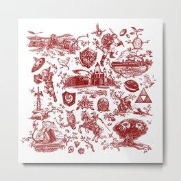 "Zelda ""Hero of Time"" Toile Pattern - Goron's Ruby Metal Print"