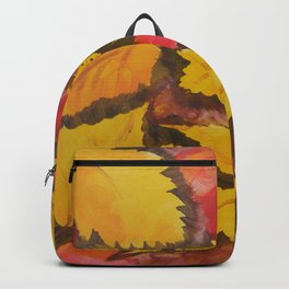 Autumn Leafs Red Yellow Brown Fall pattern based on the acrylic painting Backpack