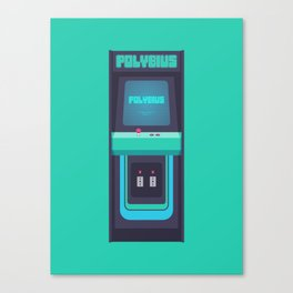 Polybius Arcade Game Machine Cabinet - Front Green Canvas Print