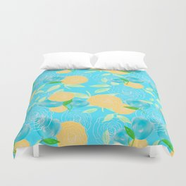 06 Yellow Blooms on Blue Duvet Cover