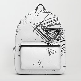Mountain Vertices, Mt. Shasta, Black Geometric Backpack