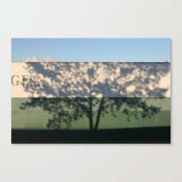 Shadow Tree on an industrial building Canvas Print