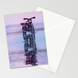 Where the Journey  begins Motorcycle at the Water Sunset Stationery Cards
