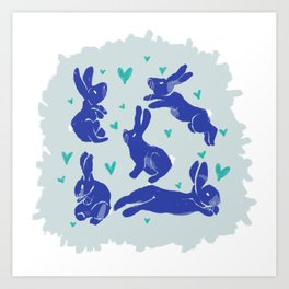 Bunny love - Blueberry edition Art Print