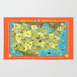 Waffle World Map Rug