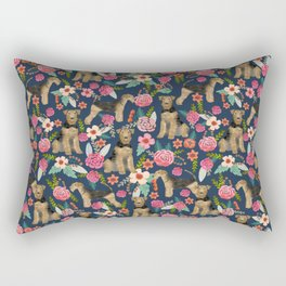 Airedale dog floral print airedale dog purple florals airedale dog fabric airedale pillow Rectangular Pillow
