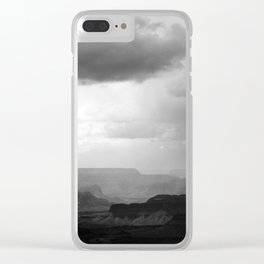Grand Canyon Landscape with Clouds Black and White Clear iPhone Case