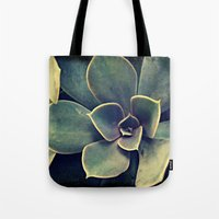 succulent Tote Bags featuring Succulent by KunstFabrik_StaticMovement Manu Jobst