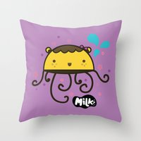 musa Throw Pillows featuring Lusa Musa© of MILK FACTORY ® by Mimi Guarnero