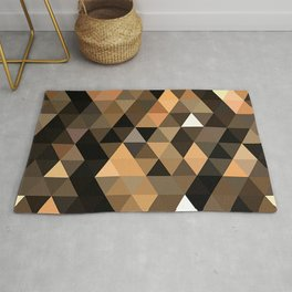 Salmon Orange Tan Brown Black Diamond Triangles Mosaic Pattern Rug