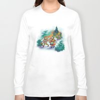 nordic Long Sleeve T-shirts featuring Nordic Kids on green by Lori Keehner