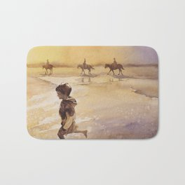 Watercolor painting of child and horses on beach on Ocracok Island at sunset- Outer Banks, North Car Bath Mat