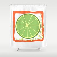 coasters Shower Curtains featuring LIME by Tanya Pligina