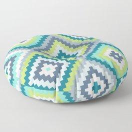 Aztec Diamond Block Ptn Teals Blues Lime White Floor Pillow