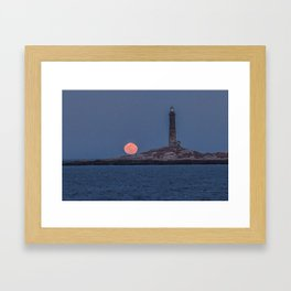 North Tower Blue Moon Rise Framed Art Print