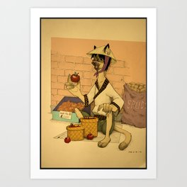 Cat selling apples Art Print