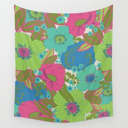 Green, Turquoise, Blue and Magenta Retro Floral Pattern Wall Tapestry