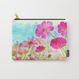 Symphony In Pink, Watercolor Wildflowers Carry-All Pouch