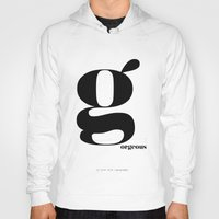 scandinavian Hoodies featuring Letter G, Gorgeous Scandinavian Design Typography by Nordic Print Studio