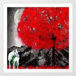 TREE RED WOLF WHITE Art Print