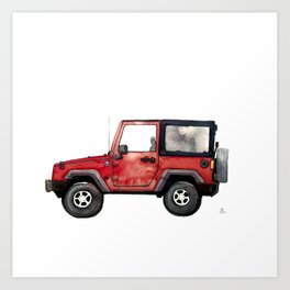 Red Jeep Wrangler from memory Art Print