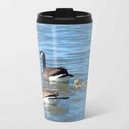 Family of Canadian Geese swimming Metal Travel Mug