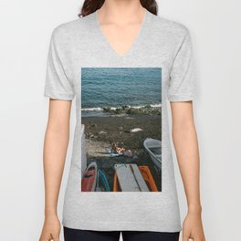 Afternoon sun at the beach in Gran Canaria   Travel photography Canary Islands, Spain - Europe  Unisex V-Neck