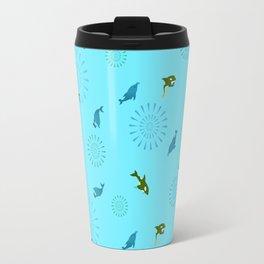 Blue Dolphin and Orca Travel Mug