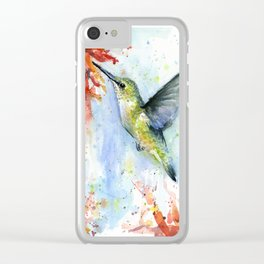 Hummingbird Red Flower Watercolor Bird Clear iPhone Case
