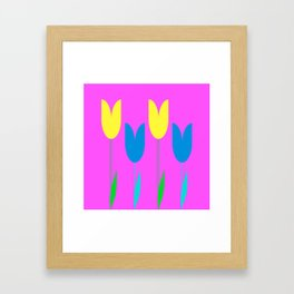 Tulips In Spring Time - Blue & Yellow on Bright Pink 3 Framed Art Print