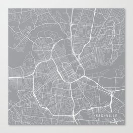 Nashville Map, Tennessee USA - Pewter Canvas Print