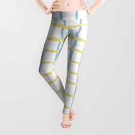 Pastel yellow teal watercolor geometrical checker stripes Leggings