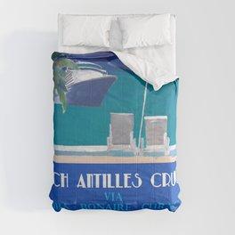 Dutch Antilles Cruise Retro Travel Poster Comforters