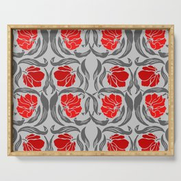 William Morris Pimpernel, Silver Gray and Red Serving Tray