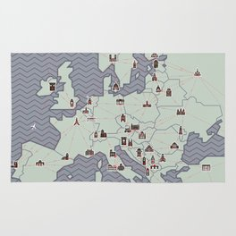 European Capitals - Map Rug