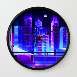 Synthwave Neon City #11 Wall Clock