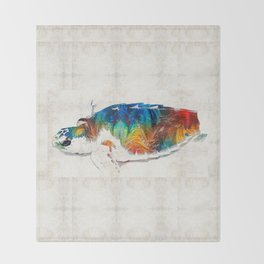 Colorful Sea Turtle By Sharon Cummings Throw Blanket