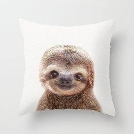 Baby Sloth, Baby Animals Art Print By Synplus Throw Pillow