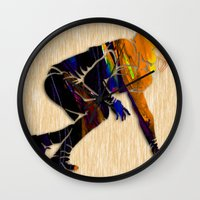 football Wall Clocks featuring Football by marvinblaine