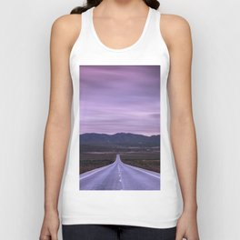"""At the end of the road"" Purple sunset Unisex Tank Top"