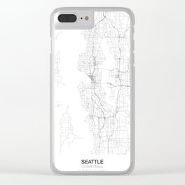 Seattle, United States Minimalist Map Clear iPhone Case