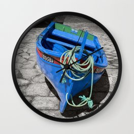 Blue boat Sesimbra, Portugal Wall Clock